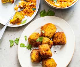 Boulettes de lentilles corail à l'indienne, salade de carottes