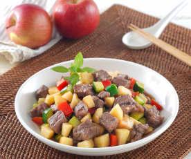牛肉炒蘋果丁