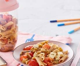Penne integrali con melanzane, pomodori e mozzarella