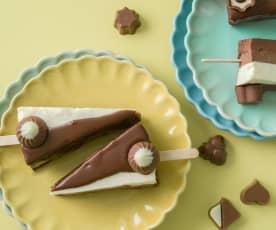 Paletas cheesecake tres chocolates