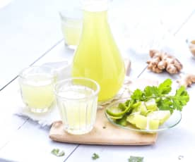 Limonade citron vert, gingembre et coriandre