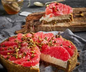 Tarta de pistache con toronja