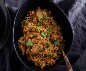 Pilav met varkensvlees en wilde rijst