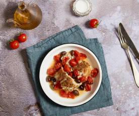 Merluzzo sottovuoto con pomodorini e olive