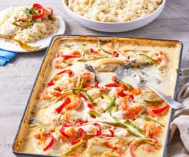 Pescado al horno con camarones, verduras y arroz basmati TM6