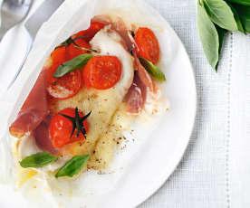 Papillotes de poulet, tomate et mozarella