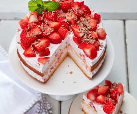 Erdbeer-Sahne-Torte ohne Gelatine