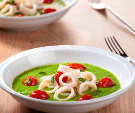 Pea Soup with Squid and Tomatoes