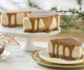 Pastel de queso vegano con caramelo salado