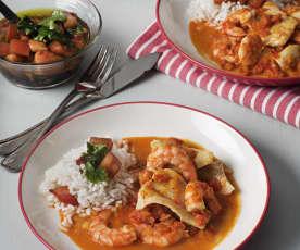 Curry de pescado y langostinos