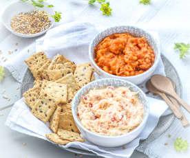 Crackers aux graines, dips à la dorade ou à la tomate