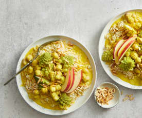 Polpettine al curry con riso al broccolo romanesco