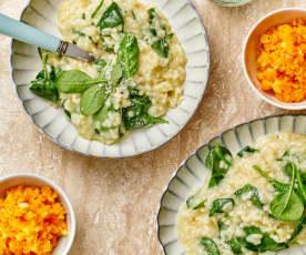 Menu : Risotto aux épinards et salade pommes-carottes