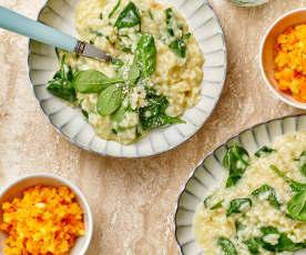 Menù: risotto agli spinaci con insalata di carote e mele