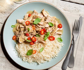 Basil Chicken with Coconut Curry Sauce