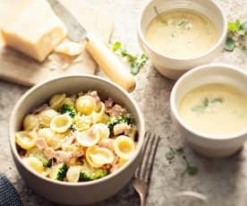 Sopa de feijão-branco e orecchiette com molho de natas e bacon