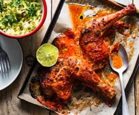 Poulet tandoori, riz aux pistaches et safran