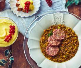 Cotechino, lenticchie e crema per Pandoro