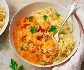 Crevettes à l'américaine, sauce tomate et cognac