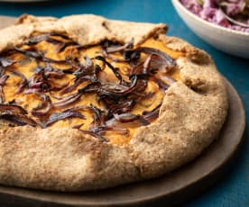 Pumpkin and Onion Galette with Autumn Coleslaw