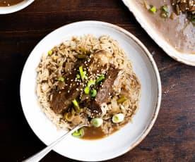 Schweinerippchen süß-sauer mit Reis
