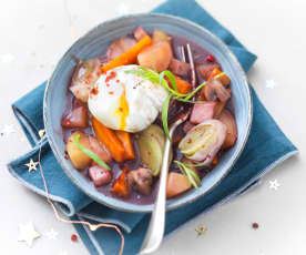Cassolette de légumes et œuf mollet