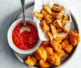 Chicken Nuggets & Country-Cuts mit Ketchup