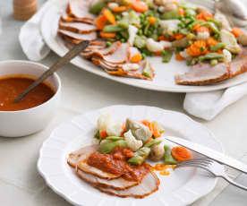 Carne braseada en salsa con verduras al vapor (Cocción lenta)