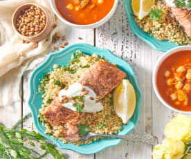 Moroccan Salmon with Lemony Couscous and Vegetable Soup