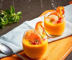 Bicchierini di zucca, gamberi e pancetta croccante (Bimby Friend)