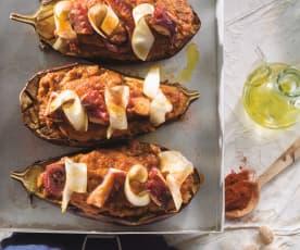 Berenjenas rellenas de pulpo y pera con salsa romesco