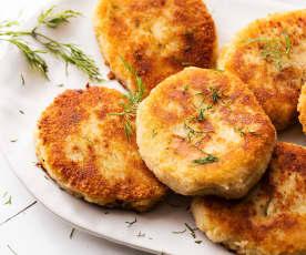 Met champignons gevulde aardappelkoekjes