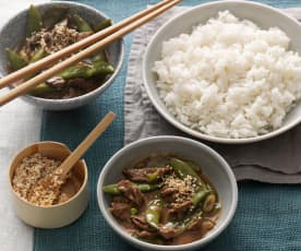 Ginger beef and sugar snap peas with rice