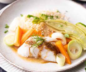 Bacalhau em molho de soja e gengibre com arroz e legumes
