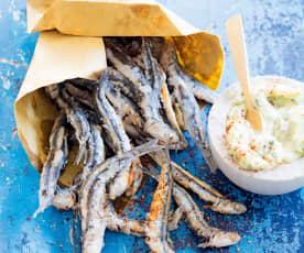 Friture d'anchois, sauce tartare
