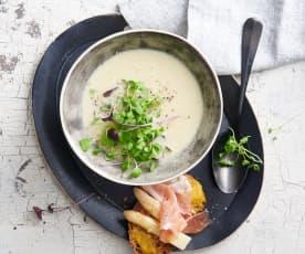 Velouté d'asperges blanches et toasts au jambon cru