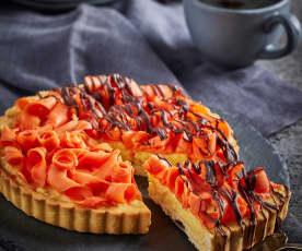 Tarta de mamey y chocolate con crema pastelera