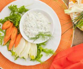 Cruditè di verdure con salsa alla panna acida