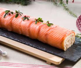 Brazo de gitano de gambas y salmón marinado