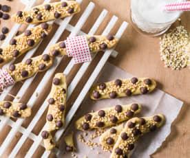 Sticks con frutos secos y chocolate