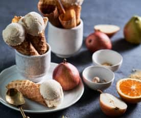 Gelado de pera e especiarias