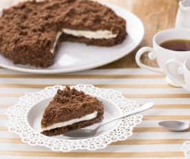 Koláč s čokoládovo-oříškovou pomazánkou a mascarpone