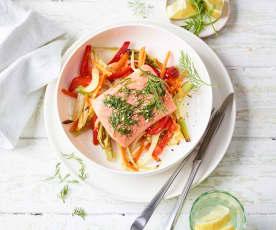 Dill-Zitronen-Lachs mit Ofengemüse