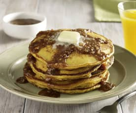 Pumpkin Pancakes with Praline Maple Syrup