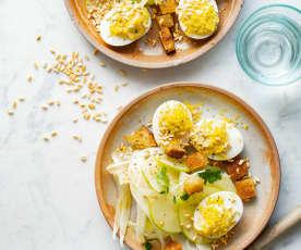 Œufs mimosa, salade de fenouil à la pomme