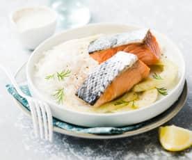 Saumon au fenouil et sauce au yaourt