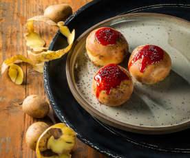 Erdäpfelbuns mit süßer Bohnen-Mohn-Fülle