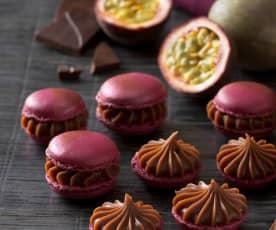 Lila Macarons mit Maracuja-Schokoladen-Ganache