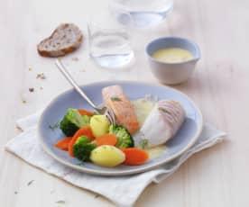 Duo de poissons au beurre blanc et petits légumes