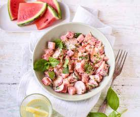 Wassermelonensalat mit Ziegenfrischkäse